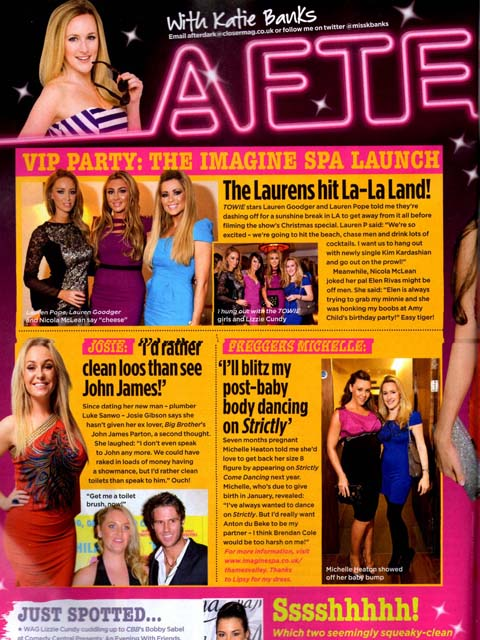 Closer Mag 22 Nov 2011: Imagine Spa Launch